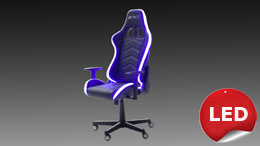 Gamingsessel McRACING LED Chefsessel Racer weiß schwarz