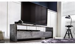 TV-Board Lowboard TV-Bank Bugri TV-Schrank Akazie Massivholz grau 145 cm