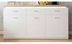 Sideboard Cali Kommode Schrank in weiß mit Deckplatte Wotan Eiche Dekor