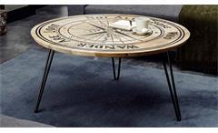 Couchtisch Wohnzimmertisch Nevis Mangoholz rund Gestell schwarz Kompass-Motiv
