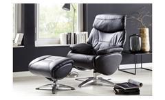 Relaxsessel MORLEY in Echtleder schwarz 360° drehbar
