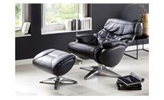 Relaxsessel Sessel Drehsessel Morley Leder schwarz 360° drehbar und verstellbar
