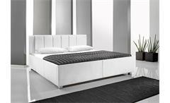Polsterbett MYLA II Bett in weißem Lederlook 180x200 cm