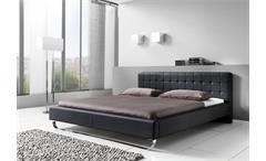 Polsterbett PASADENA Doppelbett Bett in schwarz 180x200 cm