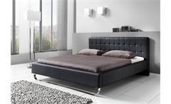 Polsterbett PASADENA Bett in schwarz Lederlook 160x200 cm
