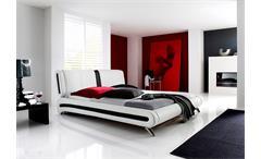 Polsterbett MALIBU Weiß und Schwarz mit Kopfteil 180x200