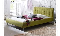Bett CLIP Polsterbett mit Kopfteil Stoff in grün 140x200 cm