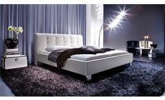 Polsterbett Detroit Doppelbett Bettgestell Bett weiß mit Kopfteil 180x200 cm
