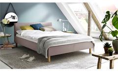 Polsterbett Belli Bett mit Kopfteil Stoff rosa 140x200 cm