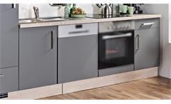 Küchenzeile MILA Front Lacklaminat Schiefer Korpus Asteiche Küchenblock