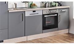 Küchenzeile MILA mit E-Geräten Front Lacklaminat Schiefer Korpus Asteiche