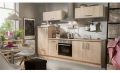 Küchenzeile ANNA Asteiche Küche mit E-Geräten und Spüle
