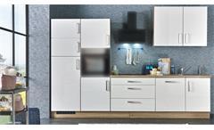 Küchenzeile JASMIN weiß Hochglanz Sonoma Eiche 320 cm