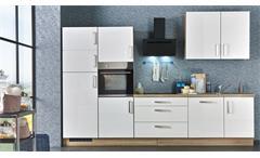 Küchenzeile JASMIN weiß Hochglanz Eiche mit E-Geräten 320