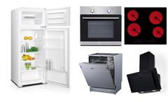 Küchenzeile Jasmin weiß Hochglanz Sonoma Eiche Küchenblock 230 cm mit E-Geräten