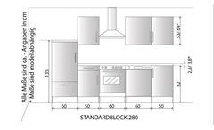 Küchenzeile Matrix weiß und Asteiche Küche im Landhausstil mit Spüle 280 cm