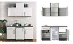 Singleküche CINDY weiß Graphit mit E-Geräten und Spüle