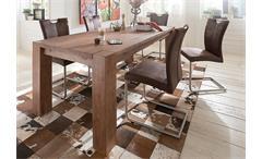 Esstisch Big Pure Esszimmertisch Tisch Esszimmer Akazie massiv smoke 160x90 cm