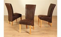 Stuhl Lord 6er Set Polsterstuhl Holzstuhl in antik braun und Eiche massiv