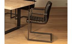 Schwingstuhl Parzival 6er Set Stuhl in Glanz schwarz Eisen grau mit Armlehne