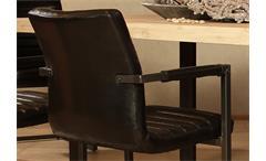 Schwingstuhl Parzival 4er Set Stuhl in Glanz schwarz Eisen grau mit Armlehne