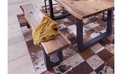 Bank Queens Sitzbank Esszimmer Akazie massiv Natur geölt und Metall grau 180x38