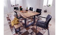 Tischgruppe Queens Parcival Tisch Bank 4 Stühle Akazie massiv Natur und schwarz