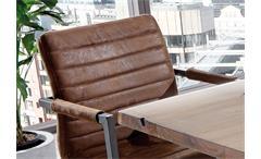 Schwingstuhl Parzival 4er Set Stuhl in antik braun Eisen grau mit Armlehne