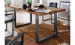Tisch New York Esszimmer Massivholz Balkeneiche natur geölt 180x90 Gestell Eisen
