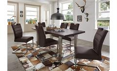 Tisch New York Esstisch 180x90 Balkeneiche massiv verwittert Gestell Eisen