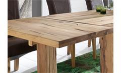 Tischgruppe Big Braxton Lord 1 Esstisch Eiche massiv lackiert und 6 Stühle antik