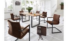 Esstisch Miami Beach Esszimmertisch Tisch Eiche massiv geölt Eisen 180x90 cm