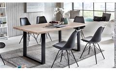 Esstisch Miami Beach Esszimmertisch Tisch Eiche massiv gekälkt Eisen 180x90 cm