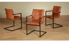 Schwingstuhl Parzival 4er-Set Stuhl in cognac orange Eisen grau mit Armlehne