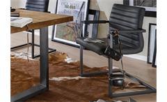 Schwingstuhl Parzival 2er-Set Stuhl in anthrazit Gestell Eisen grau mit Armlehne