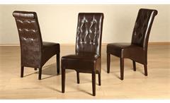 Polsterstuhl Harry 2er-Set Stuhl Esszimmerstuhl in braun Glanz Kolonial massiv