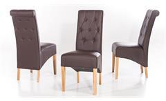 Polsterstuhl Harry 2er-Set Stuhl Esszimmerstuhl in braun Eiche massiv geölt