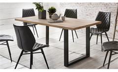 Tischgruppe PALM BEACH 180x90 Kernbuche 4x STOCKHOLM schwarz