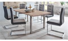 Esstisch Miami Beach Esszimmertisch Tisch Eiche massiv bianco Edelstahl 180x90