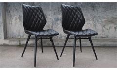 Stuhl 2er Set Stockholm Polsterstuhl in schwarz Vintageoptik