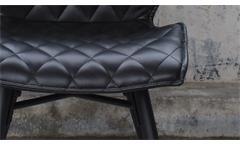 2er Set Polsterstuhl STOCKHOLM Stuhl in schwarz Vintageoptik Rautensteppung