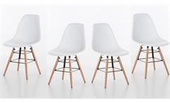 4er Set Stuhl Helsinki in Sitzschale weiß und Gestell Buche massiv Esszimmer