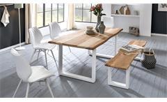 Esszimmerstuhl STOCKHOLM 2er Stuhl Set weiß mit Rautensteppung