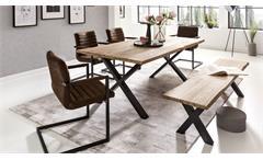 Tischgruppe MARYLAND PARZIVAL 200 Akazie macam 4 Stühle braun