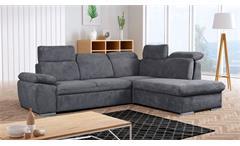 Ecksofa Atena Eckgarnitur L-Sofa rechts Stoff grau mit Schlaffunktion 272x222 cm