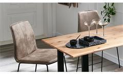 Tischgruppe Bartisch-Set Barmöbel Bodega Eiche massiv Microfaser stone 5-teilig