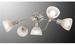 LED Deckenleuchte Daytona Nickel Glas alabaster weiß 5-flg mit Leuchtmittel