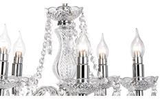 Kronleuchter Marie chromfarbig und Acryl klar Krone Deckenleuchte Hängeleuchte