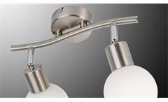 LED Deckenleuchte Loxy 2-flg Balken Lampe Nickel Glas weiß mit Leuchtmittel