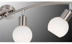 LED Deckenleuchte Loxy 4-flg Nickel Glas weiß Schiene Lampe mit Leuchtmittel